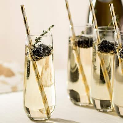 Stemless 12-piece Champagne Flute Glass Set