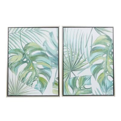 Green Natural Canvas Wall Art (Set of 2)