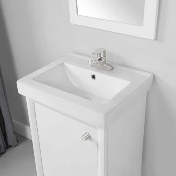 Home Decorators Collection Norris 20 In W X 16 In D Bath Vanity In White With Ceramic Vanity Top In White With White Basin Norris 20w The Home Depot