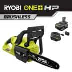 ONE+ 10 in. HP 18V Brushless Lithium-Ion Electric Cordless Battery Chainsaw - 4.0 Ah Battery and Charger Included