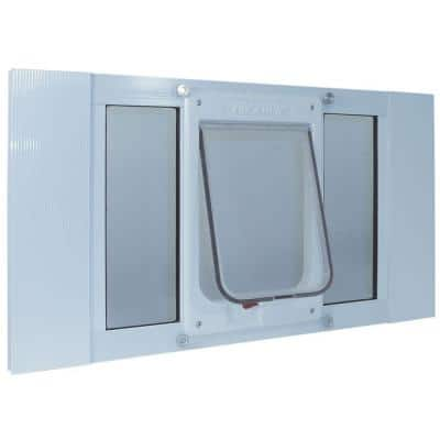 7.5 in. x 10.5 in. Large White Chubby Kat Pet Door Insert for 23 in. to 28 in. Wide Aluminum Sash Window
