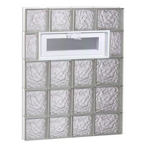 25 in. x 34.75 in. x 3.125 in. Frameless Ice Pattern Vented Glass Block Window