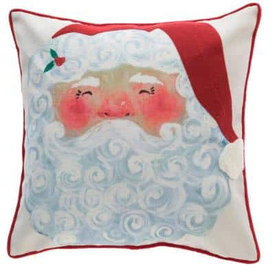 18 in. Painted Santa Holiday Square Pillow