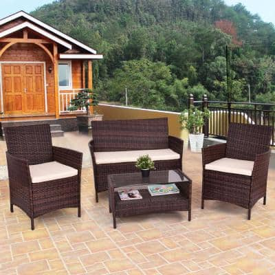 4-Piece Outdoor Patio Rattan Table Sofa Set with Beige Cushions