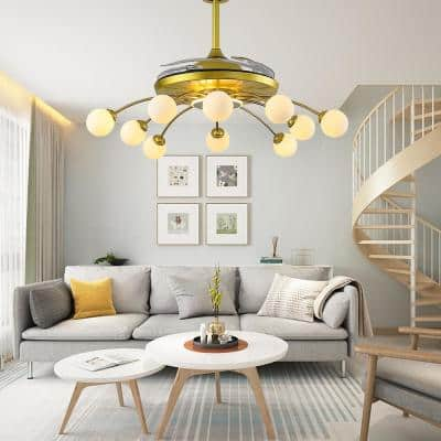 42 in. Indoor 10-Light Gold Fixture Ceiling Fan with Light Remote Control Retractable Blades and White Frosted Globes