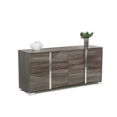 Valerie 3-Drawer Grey Finish Chest of Drawers ( 20 in. X 66 in. X 19 in. )