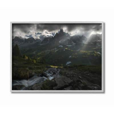 """""""Storm Over The Mountains Epic Landscape Photograph"""" by Enrico Fossati Framed Abstract Wall Art 14 in. x 11 in."""