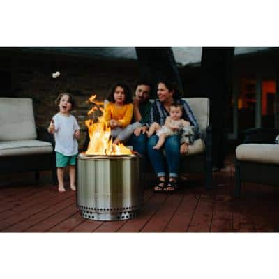 Bonfire 19.5 in. x 14 in. Round Stainless Steel Bundle Wood Burning Backyard Fire Pit with Stand Included