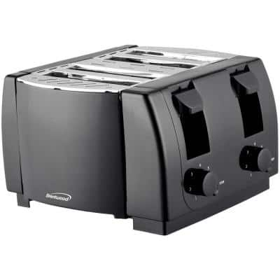 4-Slice Black Toaster with Cool-Touch Exterior