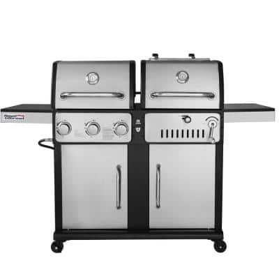 3-Burners Propane Gas Grill and Charcoal Combo Grill in Stainless Steel with 2-Side Tables