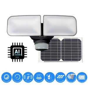 10-Watt Black Solar Powered Dual Head Motion Activated Outdoor Integrated LED Flood Light