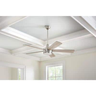 Fanelee 54 in. White Color Changing Integrated LED Brushed Nickel Smart Ceiling Fan with Light Kit and Remote Control