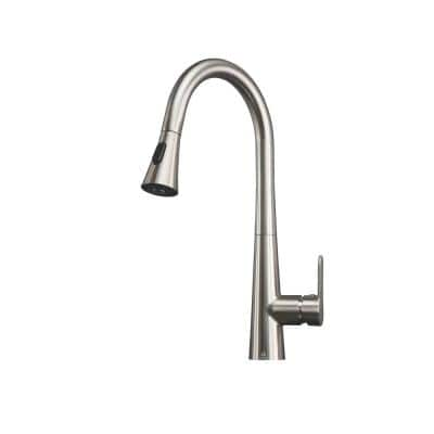 Furio Brass Single-Handle Kitchen Faucet with Pull Out Sprayer in Brushed Nickel