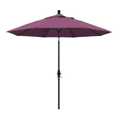 9 ft. Stone Black Aluminum Collar Tilt Crank Lift Market Patio Umbrella in Iris Sunbrella