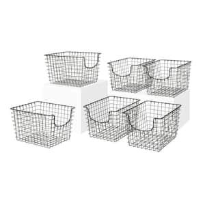 Scoop 12.75 in. D x 9.5 in. W x 8 in. H Small Industrial Gray Steel Wire Storage Bin Basket Organizer (6-Pack)
