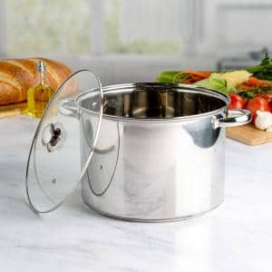 Pure Intentions 12 qt. Stainless Steel Stock Pot in Polished Stainless Steel with Glass Lid