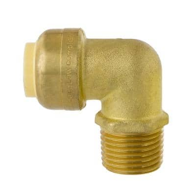 1/2 in. Push Fit x 1/2 in. NPT Male Pipe Thread Brass 90-Degree Elbow Fitting