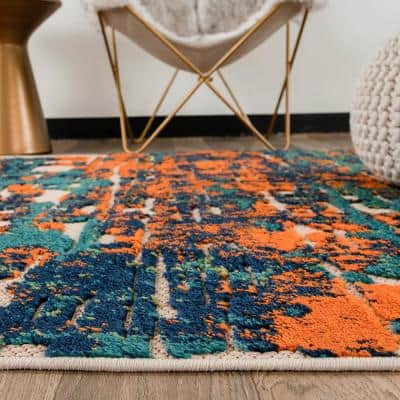 Multi 7 ft. 10 in. x 10 ft. Contemporary Distressed Abstract Indoor/Outdoor Area Rug
