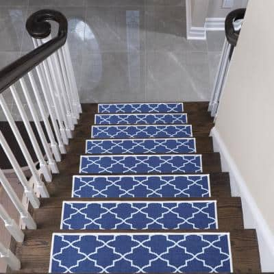 """Lattice Design 9"""" X 28"""" Stair Treads - 70 % Cotton Carpet for Indoor Stairs-with Double Adhesive Tape-Safe, 7-Pack-Navy"""