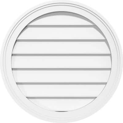 24 in. x 24 in. Round White PVC Paintable Gable Louver Vent Non-Functional