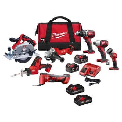 M18 18-Volt Lithium-Ion Cordless Combo Tool Kit (7-Tool) with (4) 3.0 Ah Batteries, Charger and Tool Bag