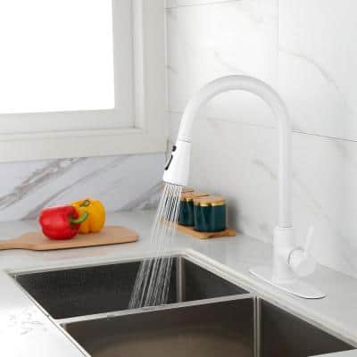 Single Handle Gooseneck Pull Down Sprayer Kitchen Faucet with Deckplate Included in Matte White