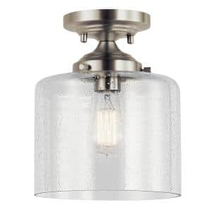 Winslow 1-Light Brushed Nickel Semi-Flush Mount Ceiling Light with Clear Seeded Glass
