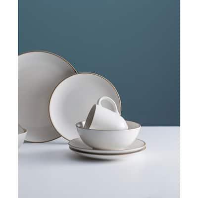 Classic 12-Piece Casual White Stoneware Dinnerware Set (Service for 3)