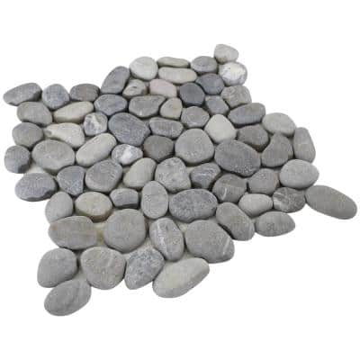 12 in. x 12 in. Light Grey Natural Pebble Floor and Wall Tile (5.0 sq. ft. / case)