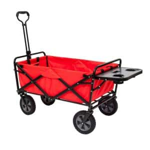 Collapsible Folding Outdoor Garden Utility Wagon Cart with Table, Red