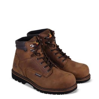 Men's V-Series Waterproof 6 inch Work Boots Composite Toe Electrical Hazzard Protection Brown Crazyhorse