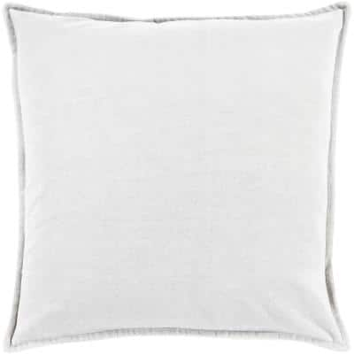Velizh Light Gray Solid Polyester 18 in. x 18 in. Throw Pillow