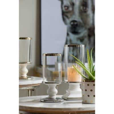 Aiza Cream, Gold Ceramic Candle Holder