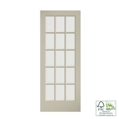 30 in. x 80 in. Clear Glass 15-Lite True Divided White Finished Solid French Interior Door Slab
