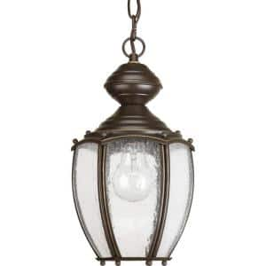 Roman Coach Collection 1-Light Antique Bronze Clear Seeded Glass Traditional Outdoor Hanging Lantern Light