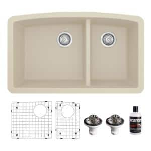 QU-711 Quartz/Granite 32 in. Double Bowl 60/40 Undermount Kitchen Sink in Bisque with Bottom Grid and Strainer