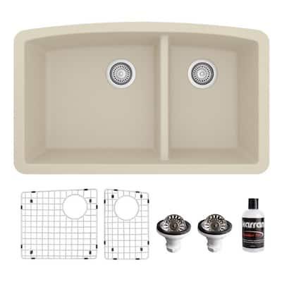 QU-711 Quartz/Granite 32 in. Double Bowl 60/40 Undermount Kitchen Sink in Bisque with Bottom Grid and Strainer
