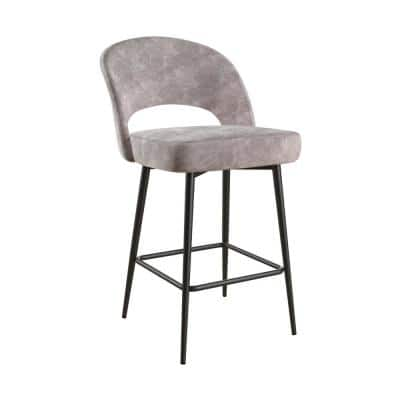 Alexi Light Gray Velvet Upholstered Counter Stool