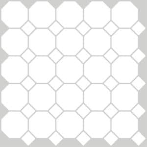 Octagon 10 in. x 10 in. Off White Peel and Stick Backsplash Tiles