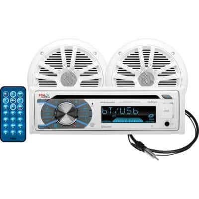 Single-DIN Marine AM/FM CD Receiver Package with Two Speakers and One Marine Antenna