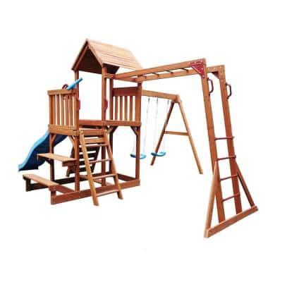 Ultimate Playhouse Swing Set with Canopy, Slide, Monkey Bar and Climbing Wall
