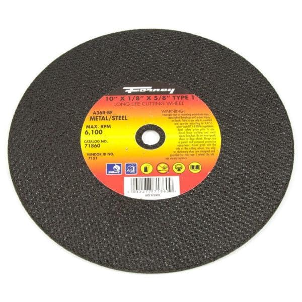 Forney 10 In X 1 8 In X 5 8 In Metal Type 1 A36r Bf Chop Saw Blade 71860 The Home Depot