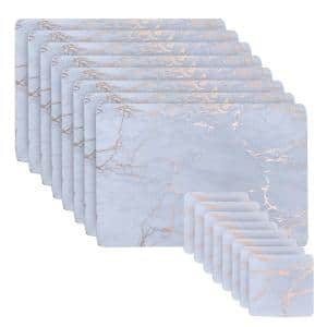Marble Cork 12 in. x 18 in. Gold Rectangular Placemat and Coasters (Set of 16) 8-Coasters and 8-Placemats