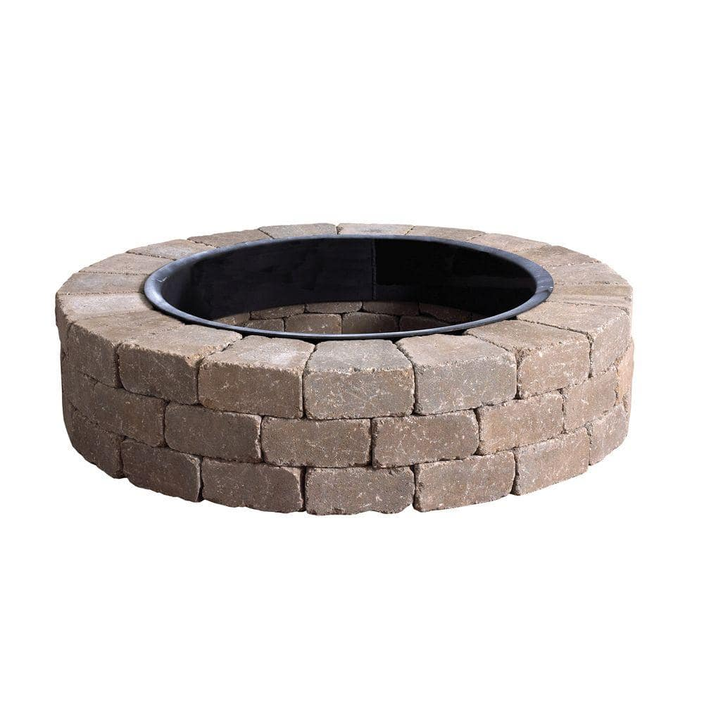 Anchor Weston 52 In X 12 Northwoods Tan Round Concrete Fire Pit Kit With Metal Liner 70300879 The Home Depot