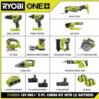 ONE+ 18V Cordless 11-Piece Combo Kit with 3 Batteries and 6-Port SUPERCHARGER