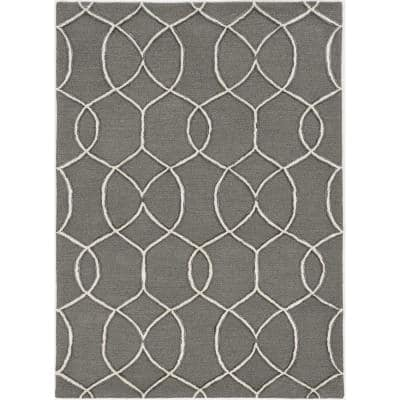 Upton Charcoal/Snow Groovy Gate 9 ft. x 13 ft. Area Rug