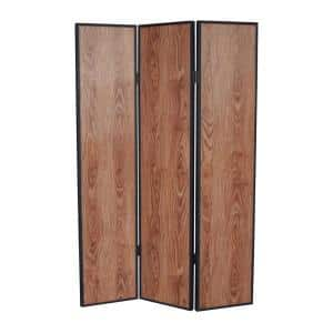 JAVA 6 ft. Brown 3-Panel Room Divider