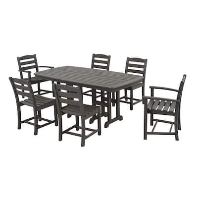 La Casa Cafe Slate Grey 7-Piece Plastic Outdoor Patio Dining Set