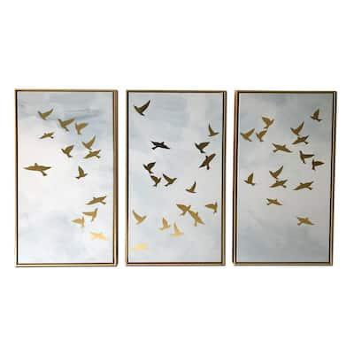 """Golden Birds"" 3-Piece Gold Floating Framed Canvas Animal Art 30 in. x 48 in."