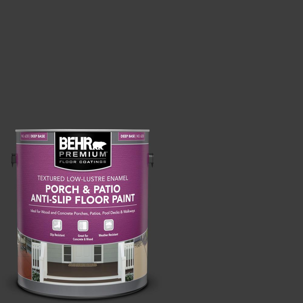 1 gal. Black Textured Low-Lustre Enamel Interior/Exterior Porch and Patio Anti-Slip Floor Paint